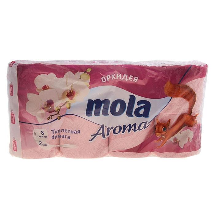 Туалетная бумага Mola Aroma, двухслойная, с ароматом орхидеи, цвет: розовый, 8 рулонов3202Двухслойная туалетная бумага Mola Aroma изготовлена из целлюлозы высшего качества. Листы имеют рисунок с тиснением. Мягкая, нежная, но в тоже время прочная, бумага не расслаивается и отрывается строго по линии перфорации.
