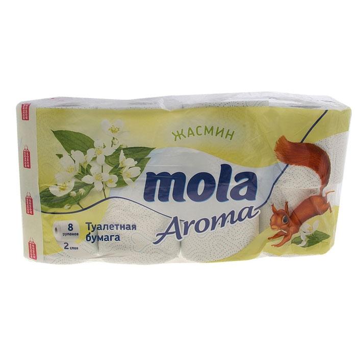 Туалетная бумага Mola Aroma, двухслойная, с ароматом жасмина, цвет: белый, голубой, 8 рулонов3206Двухслойная туалетная бумага Mola Aroma изготовлена из целлюлозы высшего качества. Листы имеют рисунок с тиснением. Мягкая, нежная, но в тоже время прочная, бумага не расслаивается и отрывается строго по линии перфорации.