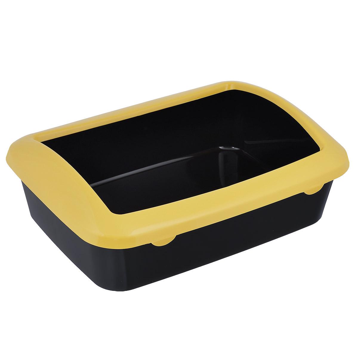 """Туалет для кошек """"Triol"""", с бортом, цвет черный, желтый, 42 см х 30 см х 14,5 см"""