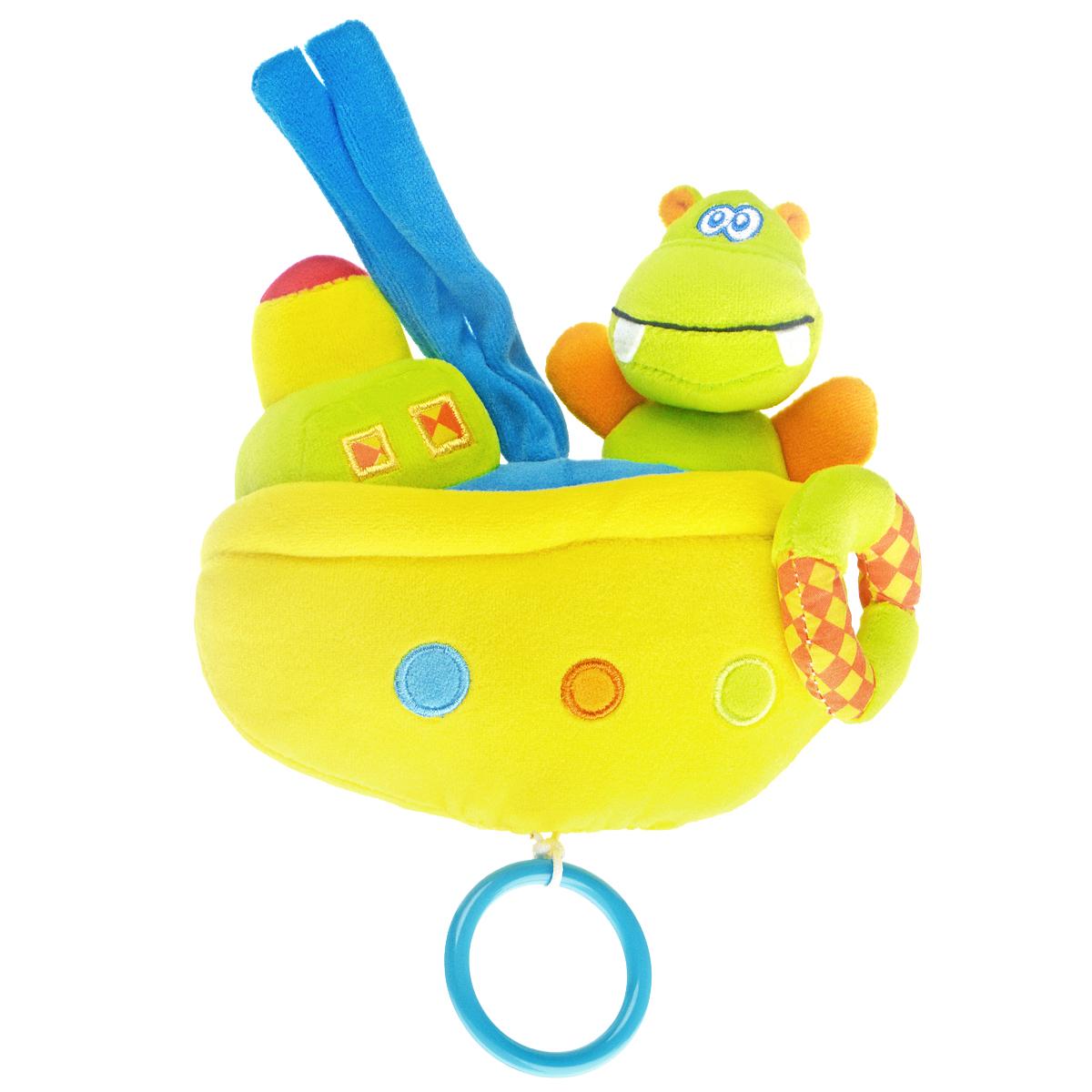 WSBD World Мягкая музыкальная игрушка БегемотикB-11089Мягкая музыкальная игрушка Бегемотик обязательно понравится вашему крохе. Она выполнена из текстильного материала разных фактур в виде кораблика с бегемотиком на борту. К бортику пришит спасательный круг, якорь представляет собой подвешенное к кораблику пластиковое кольцо. Оттянув его, ребенок сможет насладиться приятной успокаивающей мелодией, при этом щечки у бегемотика будут попеременно подсвечиваться красным светом. С помощью текстильных завязок игрушку легко можно прикрепить к кроватке, коляске, автокреслу или игровой дуге малыша. Музыкальная игрушка Бегемотик поможет малышу развить тактильные ощущения, мелкую моторику рук, слух и цветовое восприятие. Игрушка работает от незаменяемых батареек.