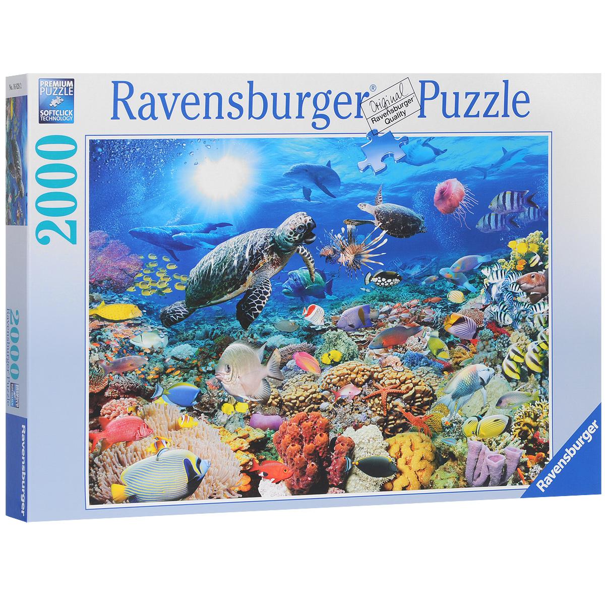 Ravensburger Подводный мир. Пазл, 2000 элементов166282Пазл Ravensburger Подводный мир, без сомнения, придется вам по душе. Собрав этот пазл, включающий в себя 2000 элементов, вы получите великолепную картину с изображением подводных обитателей. Каждая деталь имеет свою форму и подходит только на своё место. Нет двух одинаковых деталей! Пазл изготовлен из картона высочайшего качества. Все изображения аккуратно отсканированы и напечатаны на ламинированной бумаге. Пазл - великолепная игра для семейного досуга. Сегодня собирание пазлов стало особенно популярным, главным образом, благодаря своей многообразной тематике, способной удовлетворить самый взыскательный вкус. А для детей это не только интересно, но и полезно. Собирание пазла развивает мелкую моторику у ребенка, тренирует наблюдательность, логическое мышление, знакомит с окружающим миром, с цветом и разнообразными формами.