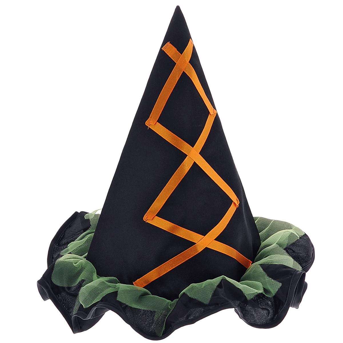 Маскарадная шляпа Лесная фея, цвет: черный, оранжевый. 2646526465Маскарадная шляпа Лесная фея, выполненная из полиэстера, изготовлена в виде остроконечного колпака. Шляпа украшена рюшами с зеленой сеточкой и атласной лентой оранжевого цвета. У вас намечается веселая вечеринка или маскарад? Маскарадная шляпа внесет нотку задора и веселья в праздник и станет завершающим штрихом в создании праздничного образа. Веселое настроение и масса положительных эмоций вам будут обеспечены! Материал: полиэстер. Размер шляпы: 28 см х 28 см х 31 см.