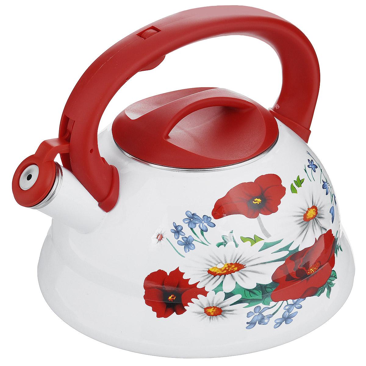 Чайник эмалированный Wellberg Ромашки и маки, со свистком, цвет: белый, красный, 3 л. WB-34343434WBЧайник Wellberg изготовлен из высококачественной нержавеющей стали с эмалированным покрытием. Корпус чайника оформлен ярким цветочным рисунком. Эмалированная посуда очень удобна в использовании, она практична и элегантна. За такой посудой легко ухаживать: чистить и мыть. Чайники с эмалированным покрытием обладают неоспоримым преимуществом: гладкая поверхность не впитывает запахи и препятствует размножению бактерий. Чайник оснащен удобной ручкой из высокопрочного пластика. Носик чайника имеет откидной свисток, звуковой сигнал которого подскажет, когда закипит вода. Положение свистка регулируется при помощи кнопки на ручке чайника. Подходит для использования на электрических, галогенных, стеклокерамических, индукционных плитах. Не ставить чайник на открытый огонь.