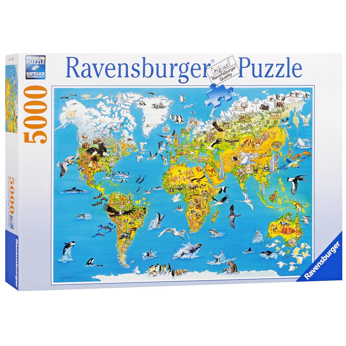 Ravensburger Карта мира с животными. Пазл, 5000 элементов174287Пазл Ravensburger Карта мира с животными, без сомнения, придется вам по душе. Собрав этот пазл, включающий в себя 5000 элементов, вы получите великолепную картину с изображением карты мира. Каждая деталь имеет свою форму и подходит только на своё место. Нет двух одинаковых деталей! Пазл изготовлен из картона высочайшего качества. Все изображения аккуратно отсканированы и напечатаны на ламинированной бумаге. Пазл - великолепная игра для семейного досуга. Сегодня собирание пазлов стало особенно популярным, главным образом, благодаря своей многообразной тематике, способной удовлетворить самый взыскательный вкус. А для детей это не только интересно, но и полезно. Собирание пазла развивает мелкую моторику у ребенка, тренирует наблюдательность, логическое мышление, знакомит с окружающим миром, с цветом и разнообразными формами.