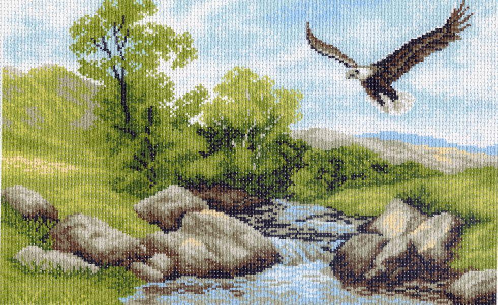 Канва с рисунком для вышивания Орел над рекой, 37 х 49 см 716551059Канва с рисунком для вышивания Орел над рекой изготовлена из хлопка. Вышивка выполняется в технике полный крестик в 2-3 нити или полукрестом в 4 нити. Создайте свой личный шедевр - красивую вышитую картину. Работа, выполненная своими руками, станет отличным подарком для друзей и близких! УВАЖАЕМЫЕ КЛИЕНТЫ! Обращаем ваше внимание, на тот факт, что цвет символа на ткани может отличаться от реального цвета нити мулине. Рекомендуемое количество цветов: 14.