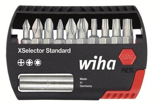 Бит-органайзер XSelector Standard, смешанная комплектация, 11 предметов Wiha 2698526985В набор Wiha XSelector Z входит 11 предметов. Коробка из высококачественной ударопрочной пластмассы. Гарантируется максимально простое извлечение битов. В комплекте универсальный магнитный держатель. Применяется для монтажа/демонтажа различных резьбовых соединений в мастерской и на предприятии - компактнее не бывает. Состав набора: PH1, PH2, PH3, PZ1, PZ2, PZ3, T15, T20, T25, T30, держатель.