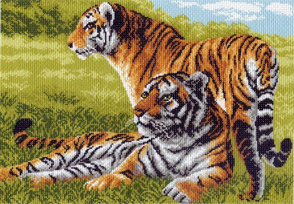 Канва с рисунком для вышивания Тигры, 37 х 49 см 617551033Канва с рисунком для вышивания Тигры изготовлена из хлопка. Вышивка выполняется в технике полный крестик в 2-3 нити или полукрестом в 4 нити. Создайте свой личный шедевр - красивую вышитую картину. Работа, выполненная своими руками, станет отличным подарком для друзей и близких! УВАЖАЕМЫЕ КЛИЕНТЫ! Обращаем ваше внимание, на тот факт, что цвет символа на ткани может отличаться от реального цвета нити мулине. Рекомендуемое количество цветов: 13.