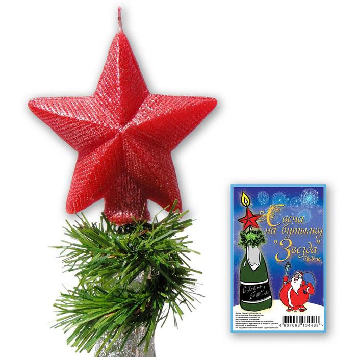 Декоративная свеча на бутылку Sima-land Звезда, цвет: красный155797