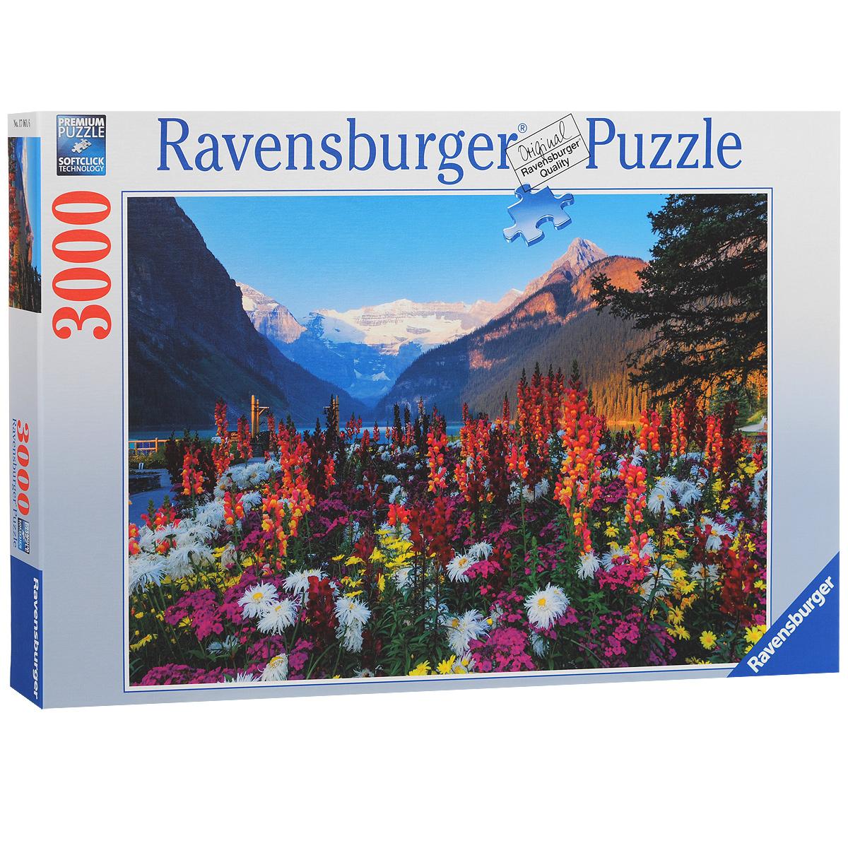 Ravensburger Горные цветы. Пазл, 3000 элементов170616Пазл Ravensburger Горные цветы, без сомнения, придется вам по душе. Собрав этот пазл, включающий в себя 3000 элементов, вы получите великолепную картину с изображением цветов. Каждая деталь имеет свою форму и подходит только на своё место. Нет двух одинаковых деталей! Пазл изготовлен из картона высочайшего качества. Все изображения аккуратно отсканированы и напечатаны на ламинированной бумаге. Пазл - великолепная игра для семейного досуга. Сегодня собирание пазлов стало особенно популярным, главным образом, благодаря своей многообразной тематике, способной удовлетворить самый взыскательный вкус. А для детей это не только интересно, но и полезно. Собирание пазла развивает мелкую моторику у ребенка, тренирует наблюдательность, логическое мышление, знакомит с окружающим миром, с цветом и разнообразными формами.