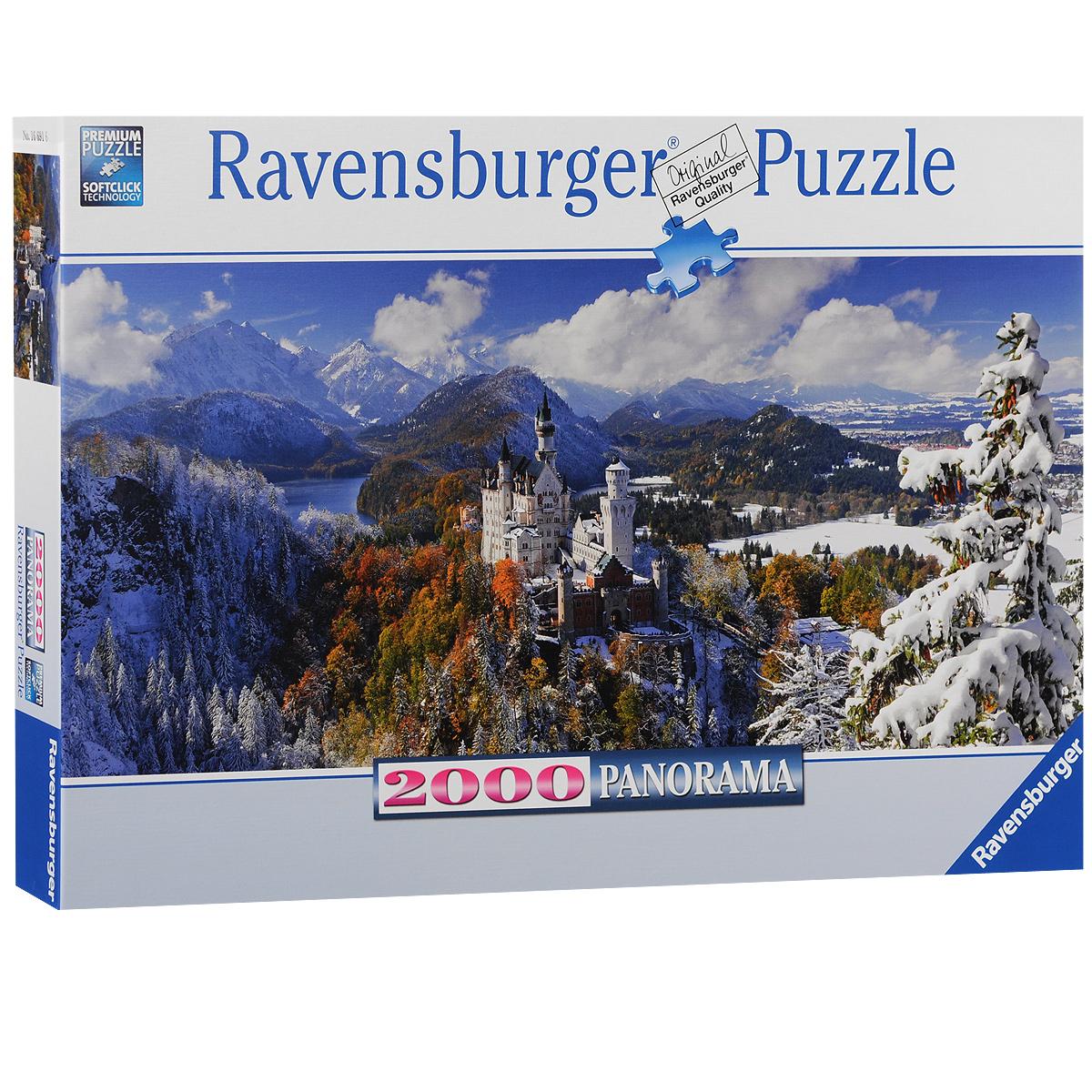 Ravensburger Нойшванштайн. Панорамный пазл, 2000 элементов166916Панорамный пазл Ravensburger Нойшванштайн, без сомнения, придется вам по душе. Собрав этот пазл, включающий в себя 2000 элементов, вы получите великолепную картину с изображением замка. Каждая деталь имеет свою форму и подходит только на своё место. Нет двух одинаковых деталей! Пазл изготовлен из картона высочайшего качества. Все изображения аккуратно отсканированы и напечатаны на ламинированной бумаге. Пазл - великолепная игра для семейного досуга. Сегодня собирание пазлов стало особенно популярным, главным образом, благодаря своей многообразной тематике, способной удовлетворить самый взыскательный вкус. А для детей это не только интересно, но и полезно. Собирание пазла развивает мелкую моторику у ребенка, тренирует наблюдательность, логическое мышление, знакомит с окружающим миром, с цветом и разнообразными формами.