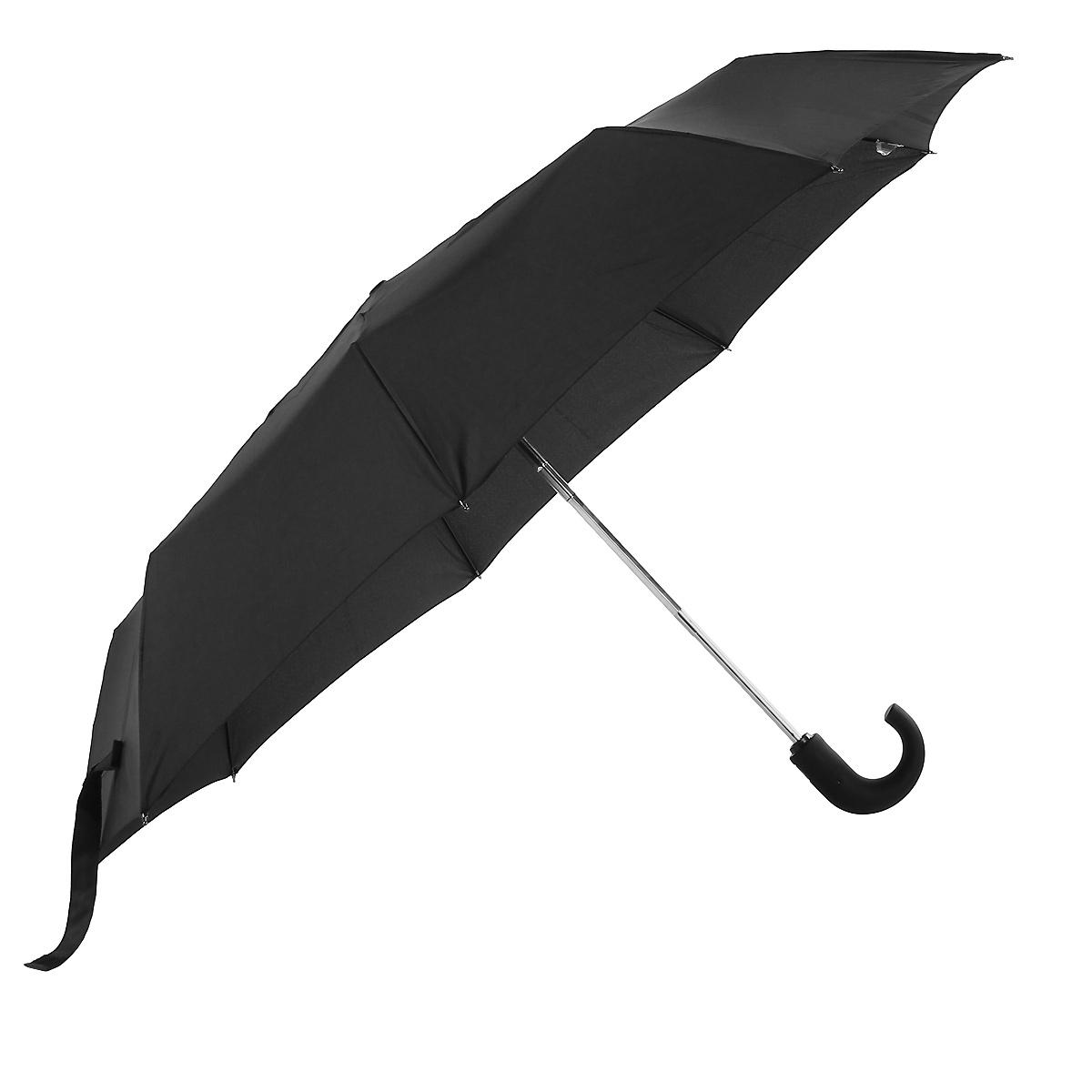 """Зонт Airton, автомат, 3 сложения, цвет: черный. 39703970Автоматический зонт Airton в 3 сложения даже в ненастную погоду позволит вам оставаться стильным. Детали каркаса изготовлены из высокопрочных материалов, специальная система """"Windproof"""" защищает его от поломок. Зонт оснащен 9 спицами, выполненными из металла. Ручка закругленной формы, выполненная из прорезиненного пластика, разработана с учетом требований эргономики. Используемые высококачественные красители, а также покрытие """"Teflon"""" обеспечивают длительное сохранение свойств ткани купола зонта. Купол выполнен из полиэстера черного цвета. Зонт имеет полный автоматический механизм сложения: купол открывается и закрывается нажатием кнопки на рукоятке, стержень складывается вручную до характерного щелчка. К зонту прилагается чехол."""