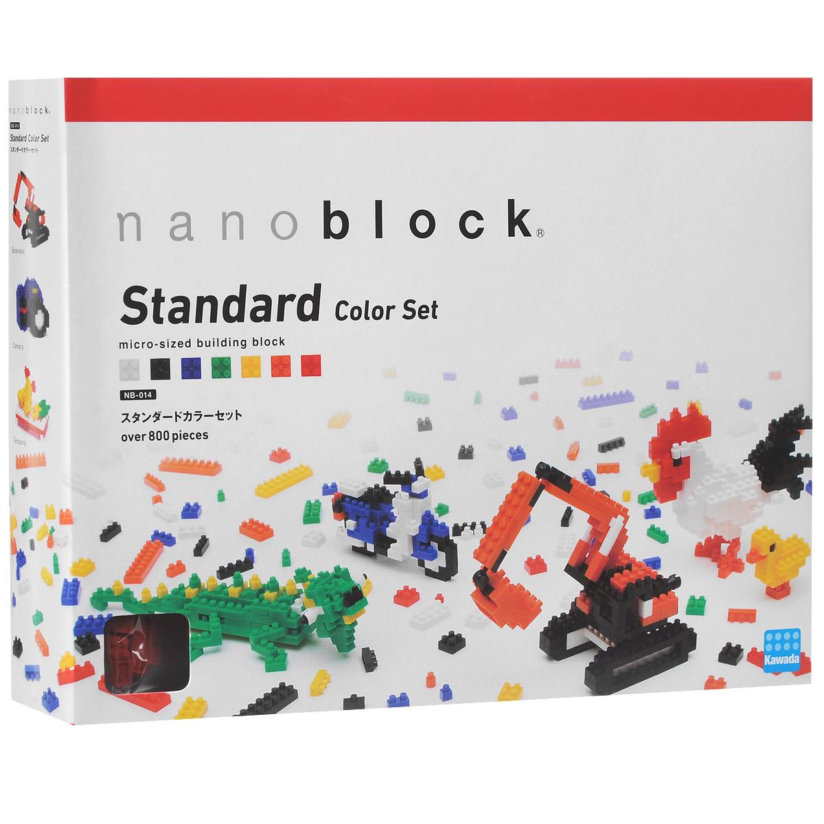 Nanoblock Мини-конструктор Набор цветных кирпичиковNB_014Конструктор Nanoblock - самый маленький в мире конструктор, крайне необычный. Высокоточные трехмерные модели из деталей подобных Лего, но предельно уменьшенных в размерах, стали хитом в Японии и буквально произвели фурор в Америке, Европе, Азии и Австралии. Чем-то сборка этого мини-Лего похожа на решение 3D-головоломки, особенно в момент, когда продолжительные усилия по сборке вознаграждаются появлением долгожданной конструкции! Больше 800 деталей в комплекте, разбитых на 7 цветов: красный, желтый, зеленый, синий, оранжевый, белый и черный. Белые и черные представлены 13 различными формами, а у цветных - по 9 форм. Набор предназначен для реализации собственных задумок и создания уникальных мини-конструкций. Для того, чтобы помочь сразу освоиться с техникой создания мини-моделей из наноблока, производитель предлагает для начала построить 7 объектов-примеров по схеме в комплекте. Но это именно ознакомительный этап, ведь имея под рукой такое количество кирпичиков дающих...
