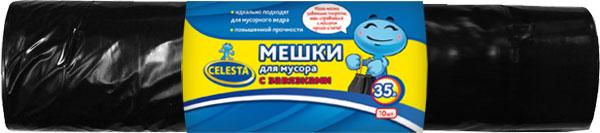 Мешки для мусора Celesta, с завязками, цвет: черный, 35 л, 10 шт825459Мешки для мусора Celesta применяются для хранения и транспортировки бытовых мусорных и продуктовых отходов. Благодаря прочным завязкам мешок очень удобен в использовании. Идеально подходит для мусорного ведра. Имеет повышенную прочность. Мешки быстро и просто отрываются по линии перфорации. Материал: полиэтилен. Объем: 35 л. Количество мешков: 10 шт.