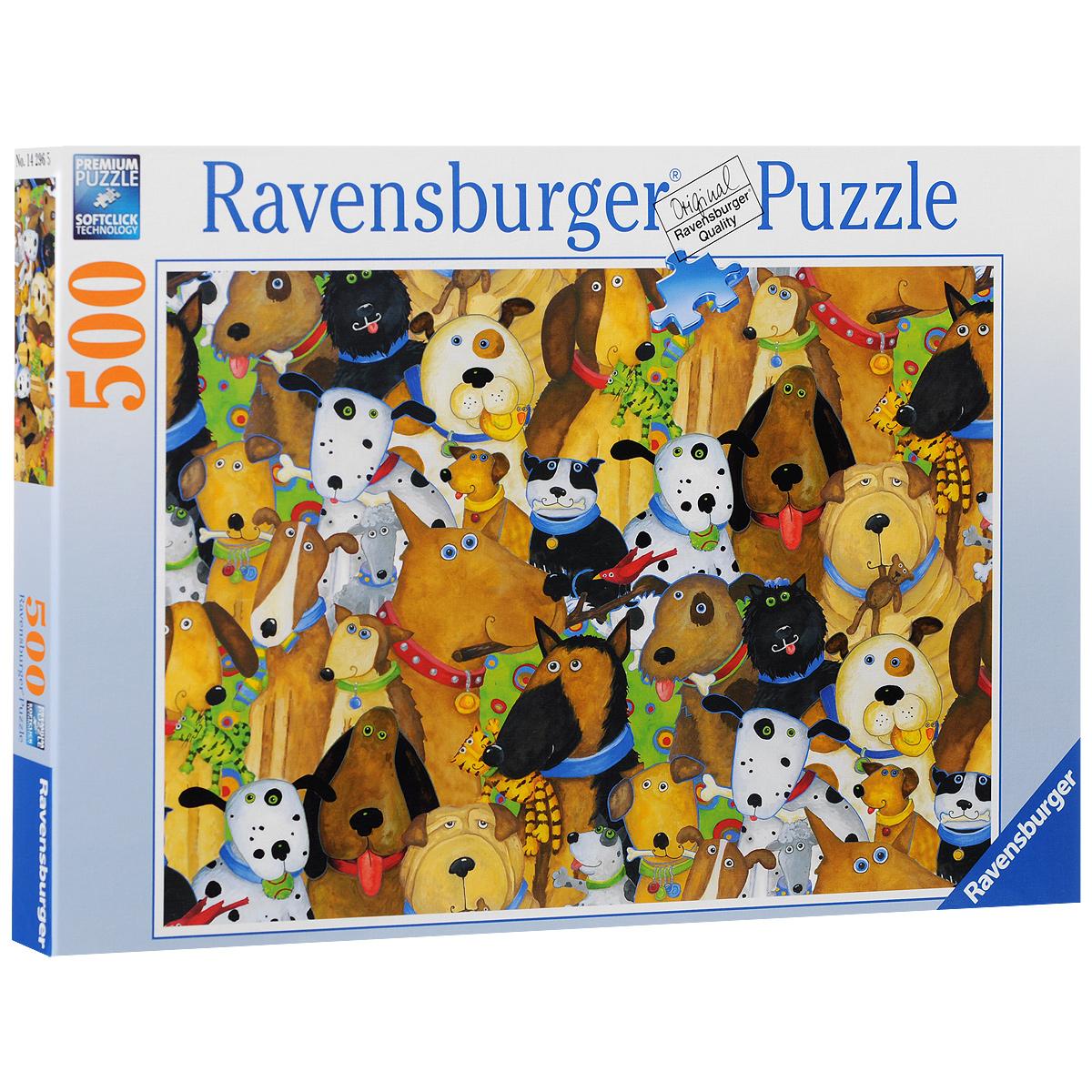 Ravensburger Веселые собаки. Пазл, 500 элементов142965Пазл Ravensburger Веселые собаки, без сомнения, придется вам по душе. Собрав этот пазл, включающий в себя 500 элементов, вы получите великолепную картину с изображением собак. Каждая деталь имеет свою форму и подходит только на своё место. Нет двух одинаковых деталей! Пазл изготовлен из картона высочайшего качества. Все изображения аккуратно отсканированы и напечатаны на ламинированной бумаге. Пазл - великолепная игра для семейного досуга. Сегодня собирание пазлов стало особенно популярным, главным образом, благодаря своей многообразной тематике, способной удовлетворить самый взыскательный вкус. А для детей это не только интересно, но и полезно. Собирание пазла развивает мелкую моторику у ребенка, тренирует наблюдательность, логическое мышление, знакомит с окружающим миром, с цветом и разнообразными формами.