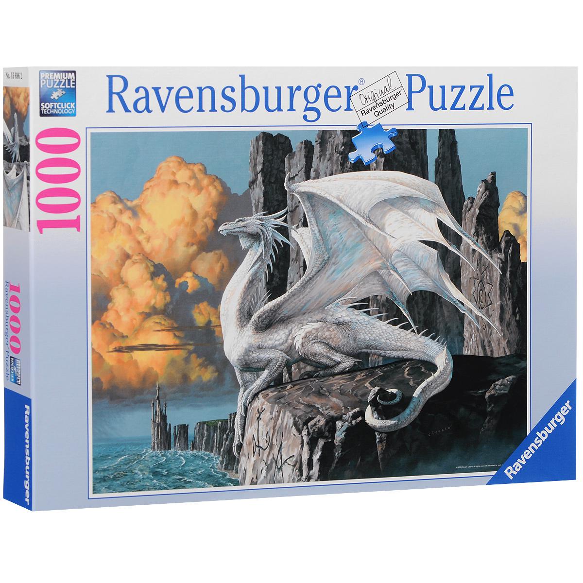 Ravensburger Белый дракон. Пазл, 1000 элементов156962Пазл Ravensburger Белый дракон, без сомнения, придется вам по душе. Собрав этот пазл, включающий в себя 1000 элементов, вы получите великолепную картину с изображением дракона. Каждая деталь имеет свою форму и подходит только на своё место. Нет двух одинаковых деталей! Пазл изготовлен из картона высочайшего качества. Все изображения аккуратно отсканированы и напечатаны на ламинированной бумаге. Пазл - великолепная игра для семейного досуга. Сегодня собирание пазлов стало особенно популярным, главным образом, благодаря своей многообразной тематике, способной удовлетворить самый взыскательный вкус. А для детей это не только интересно, но и полезно. Собирание пазла развивает мелкую моторику у ребенка, тренирует наблюдательность, логическое мышление, знакомит с окружающим миром, с цветом и разнообразными формами.