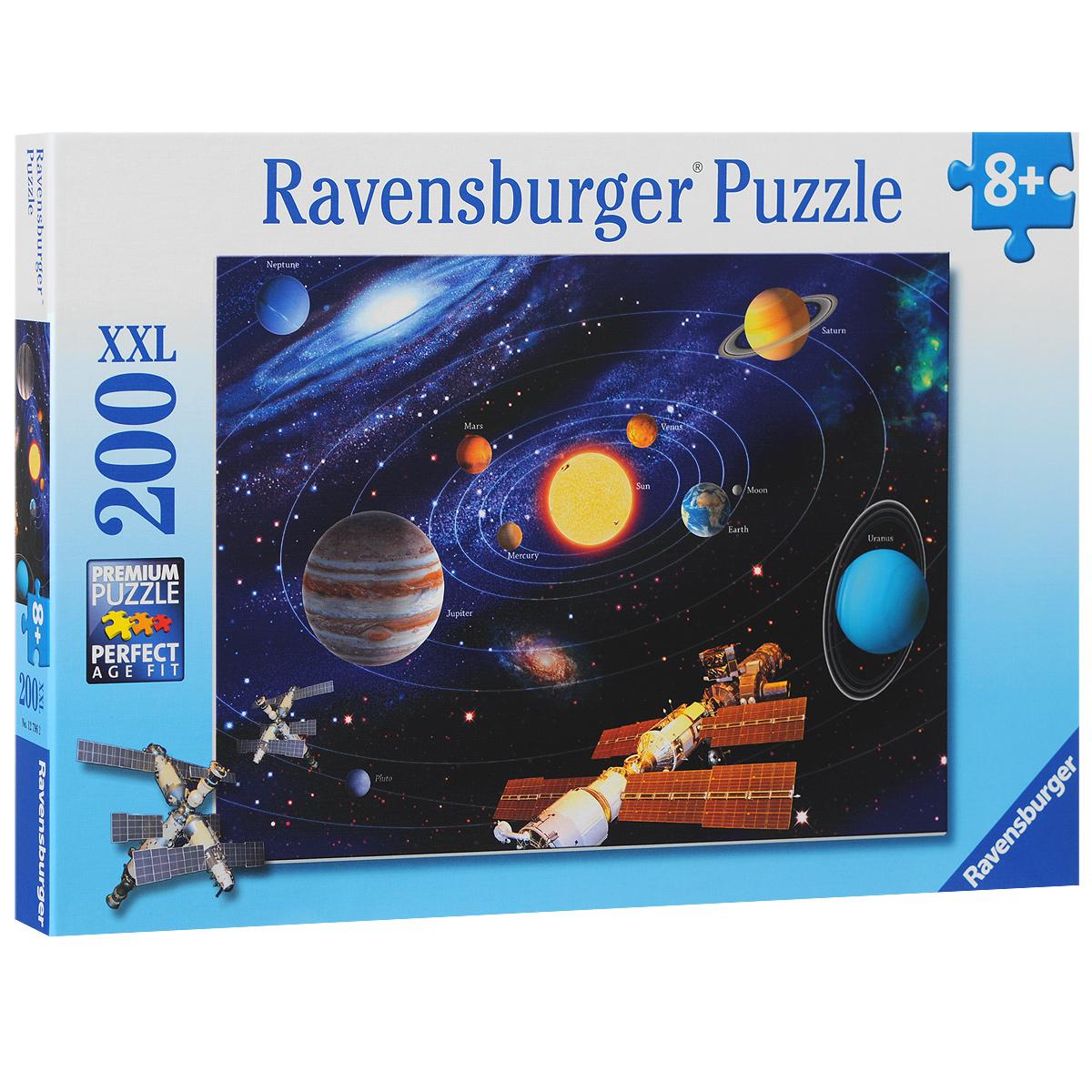 Ravensburger Солнечная система. Пазл, 200 элементов127962Пазл Ravensburger Солнечная система, без сомнения, придется по душе вам и вашему ребенку. Собрав этот пазл, включающий в себя 200 элементов, вы получите великолепную картину с изображением солнца и планет вращающихся вокруг него. Каждая деталь имеет свою форму и подходит только на своё место. Нет двух одинаковых деталей! Пазл изготовлен из картона высочайшего качества. Все изображения аккуратно отсканированы и напечатаны на ламинированной бумаге. Пазл - великолепная игра для семейного досуга. Сегодня собирание пазлов стало особенно популярным, главным образом, благодаря своей многообразной тематике, способной удовлетворить самый взыскательный вкус. А для детей это не только интересно, но и полезно. Собирание пазла развивает мелкую моторику у ребенка, тренирует наблюдательность, логическое мышление, знакомит с окружающим миром, с цветом и разнообразными формами.