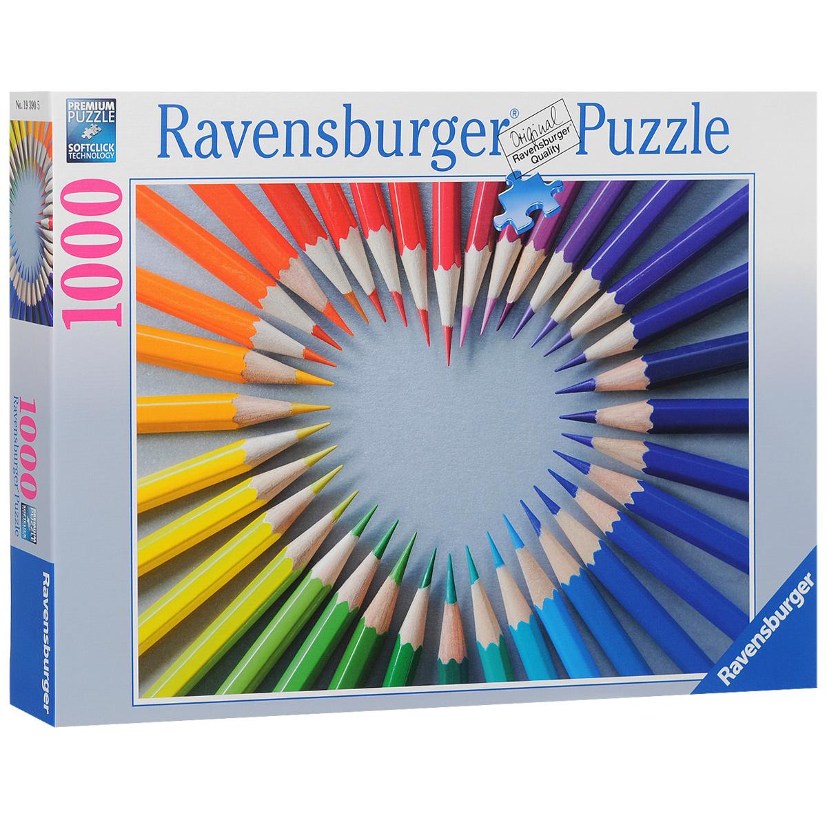 Ravensburger Цветное сердце. Пазл, 1000 элементов193905Пазл Ravensburger Цветное сердце, без сомнения, придется вам по душе. Собрав этот пазл, включающий в себя 1000 элементов, вы получите великолепную картину с изображением сердца из цветных карандашей. Каждая деталь имеет свою форму и подходит только на своё место. Нет двух одинаковых деталей! Пазл изготовлен из картона высочайшего качества. Все изображения аккуратно отсканированы и напечатаны на ламинированной бумаге. Пазл - великолепная игра для семейного досуга. Сегодня собирание пазлов стало особенно популярным, главным образом, благодаря своей многообразной тематике, способной удовлетворить самый взыскательный вкус. А для детей это не только интересно, но и полезно. Собирание пазла развивает мелкую моторику у ребенка, тренирует наблюдательность, логическое мышление, знакомит с окружающим миром, с цветом и разнообразными формами.