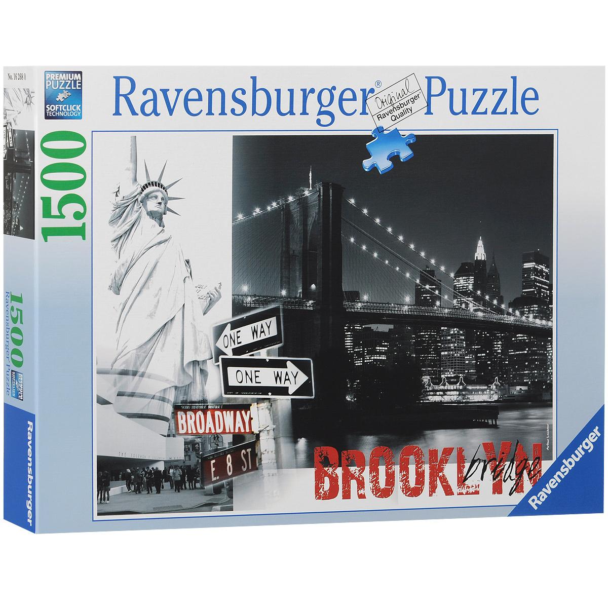 Ravensburger Бруклинский мост. Пазл, 1500 элементов162680Пазл Ravensburger Бруклинский мост, без сомнения, придется вам по душе. Собрав этот пазл, включающий в себя 1500 элементов, вы получите великолепную картину с изображением одноименного моста. Бруклинский мост - один из старейших висячих мостов в США, его длина составляет 1825 метров, он пересекает пролив Ист-Ривер и соединяет Бруклин и Манхэттен в городе Нью-Йорк. На момент окончания строительства он являлся самым большим подвесным мостом в мире и первым мостом, в конструкции которого использовались стальные прутья. Каждая деталь имеет свою форму и подходит только на своё место. Нет двух одинаковых деталей! Пазл изготовлен из картона высочайшего качества. Все изображения аккуратно отсканированы и напечатаны на ламинированной бумаге. Пазл - великолепная игра для семейного досуга. Сегодня собирание пазлов стало особенно популярным, главным образом, благодаря своей многообразной тематике, способной удовлетворить самый взыскательный вкус. А для детей это не только...