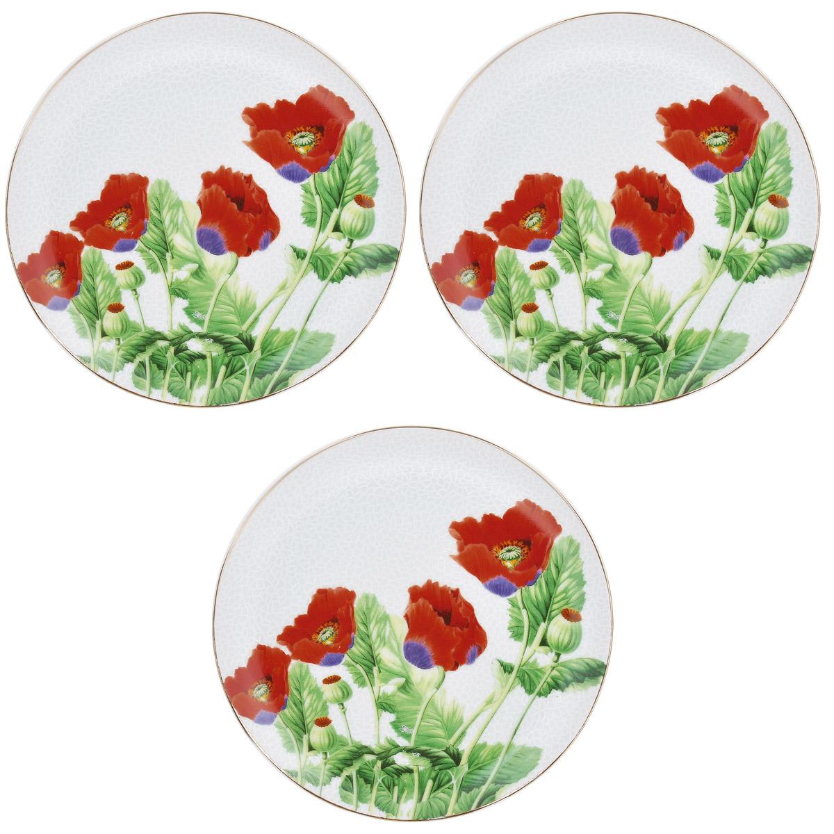 Набор тарелок Briswild Цветы мака, диаметр 18,5 см, 3 шт. 545-765545-765Набор тарелок Briswild Цветы мака, выполненный из высококачественного фарфора, состоит из 3 тарелок. Тарелки оформлены изысканным рисунком в виде мака. Они сочетают в себе изысканный дизайн с максимальной функциональностью. Оригинальность оформления тарелок придется по вкусу и ценителям классики, и тем, кто предпочитает утонченность и изящность. Набор тарелок Briswild Цветы мака послужит отличным подарком к любому празднику. Не использовать в СВЧ печах. Не применять абразивные чистящие вещества.