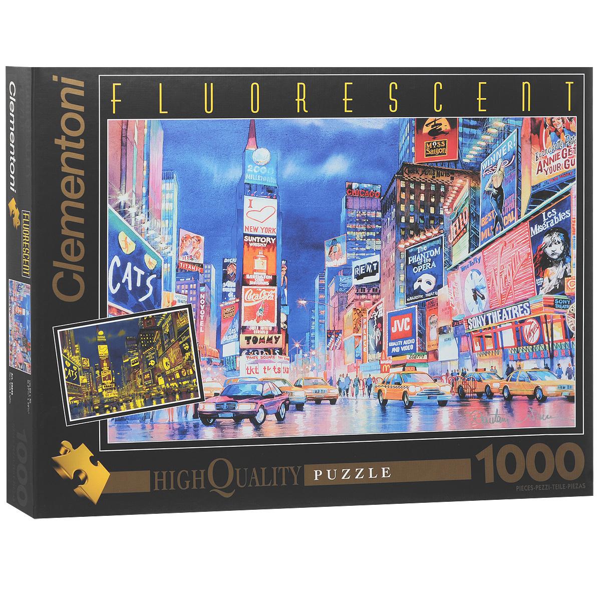 Огни Нью-Йорка. Флуоресцентный пазл, 1000 элементов39249Флуоресцентный пазл Clementoni Огни Нью-Йорка, без сомнения, придется вам по душе. Красочное изображение известного мегаполиса, пополнит вашу коллекцию флуоресцентных пазлов. Под действием ультрафиолетового излучения, пазл начинает светиться. Пазл включает в себя 1000 элементов. Пазл - великолепная игра для семейного досуга. Сегодня собирание пазлов стало особенно популярным, главным образом, благодаря своей многообразной тематике, способной удовлетворить самый взыскательный вкус. А для детей это не только интересно, но и полезно. Собирание пазла развивает мелкую моторику у ребенка, тренирует наблюдательность, логическое мышление, знакомит с окружающим миром, с цветом и разнообразными формами.