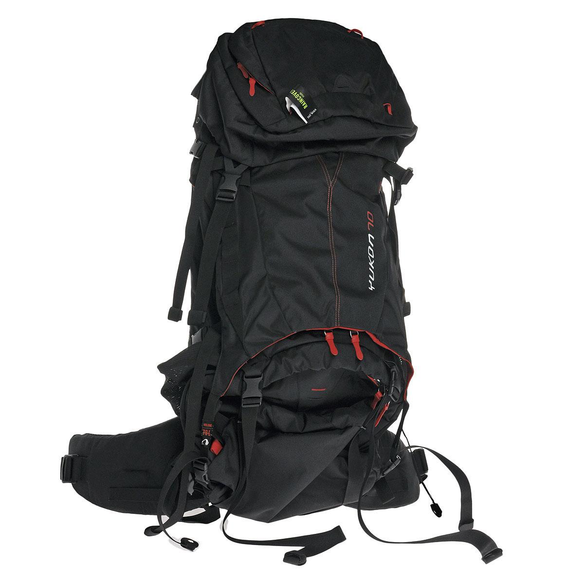 Рюкзак туристический Tatonka Yukon 70, цвет: черный1402.040Высокотехнологичный рюкзак Tatonka Yukon 70 предназначен для продолжительных походов. Регулируемая система подвески V2 оптимально распределяет нагрузку на бедра. Спинка с мягкой подкладкой, обтянутая терморегулирующей сеточкой Airmesh, обеспечивает комфорт и вентиляцию при длительных переходах. Особенности рюкзака: Подвеска V2. Регулируемая крышка-клапан. Мягкие регулируемые лямки и набедренный пояс. Дополнительный доступ в основное отделение. Большой передний карман на молнии. Боковые карманы. Боковые стяжки. Ручки для переноски. Крепление для ледоруба. Дождевой чехол. Отделение для питьевой системы. Отделение для аптечки. Держатель для ключей.