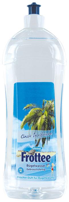 Вода парфюмированная Frottee для утюгов , с ароматом свежести, 1000 мл152481Парфюмированная вода для утюгов. Классическая свежесть островного бриза Идеальное средство для использования в утюгах с отпаривателем или парогенератором. Облегчает глажение и придает белью нежный аромат свежести. Предотвращает появление пятен при отпаривании. В отличие от кипяченой или дистиллированной воды содержит компоненты, проникающие внутрь волокон ткани, что обеспечивает качественное разглаживание сильно помятого и пересушенного белья. Избавляет белье от остаточного запаха средств для стирки. Предохраняет внутренние детали утюга от образования известкового налета и накипи, тем самым продлевает срок службы прибора. Дерматологически протестировано. Экологически чистый продукт. Способ применения : залить в резервуар для воды в утюге, согласно инструкции производителя. Не смешивать с обычной водой! После глажения остатки воды из утюга не выливать обратно во флакон! При первом применении может произойти растворение известкового налёта,...