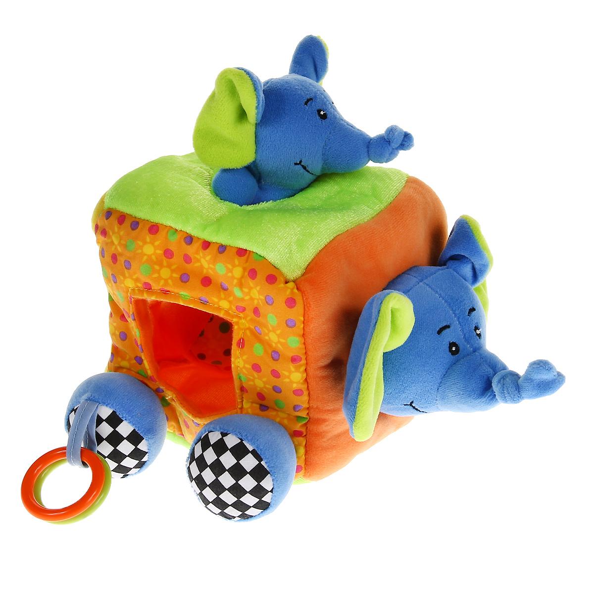 WSBD World Развивающий кубик-сортер СлоникB-11033Развивающий кубик-сортер Слоник непременно понравится вашему малышу и надолго займет его внимание. Он выполнен из текстильного материала разных цветов и фактур в виде кубика, дополненного ножками и головой слоника. На ножках слона подвешены пластиковые колечки. Также в комплект входят четыре элемента в виде квадрата, круга, треугольника и слоненка. Квадратик содержит шуршащий элемент, внутри треугольника спрятана пищалка, внутри кружка - сфера, гремящая при тряске, а к слоненку крепится прорезыватель, который поможет ребенку снять неприятные ощущения при появлении зубов. На гранях кубика расположены отверстия в виде круга, треугольника, квадрата и овала. Задача малыша заключается в том, чтобы опустить игрушки в соответствующие им отверстия. Мягкий кубик-сортер способствует развитию у малыша логического мышления, цветового восприятия, тактильных ощущений, мелкой моторики рук и координации движений, знакомит с понятием формы предмета.