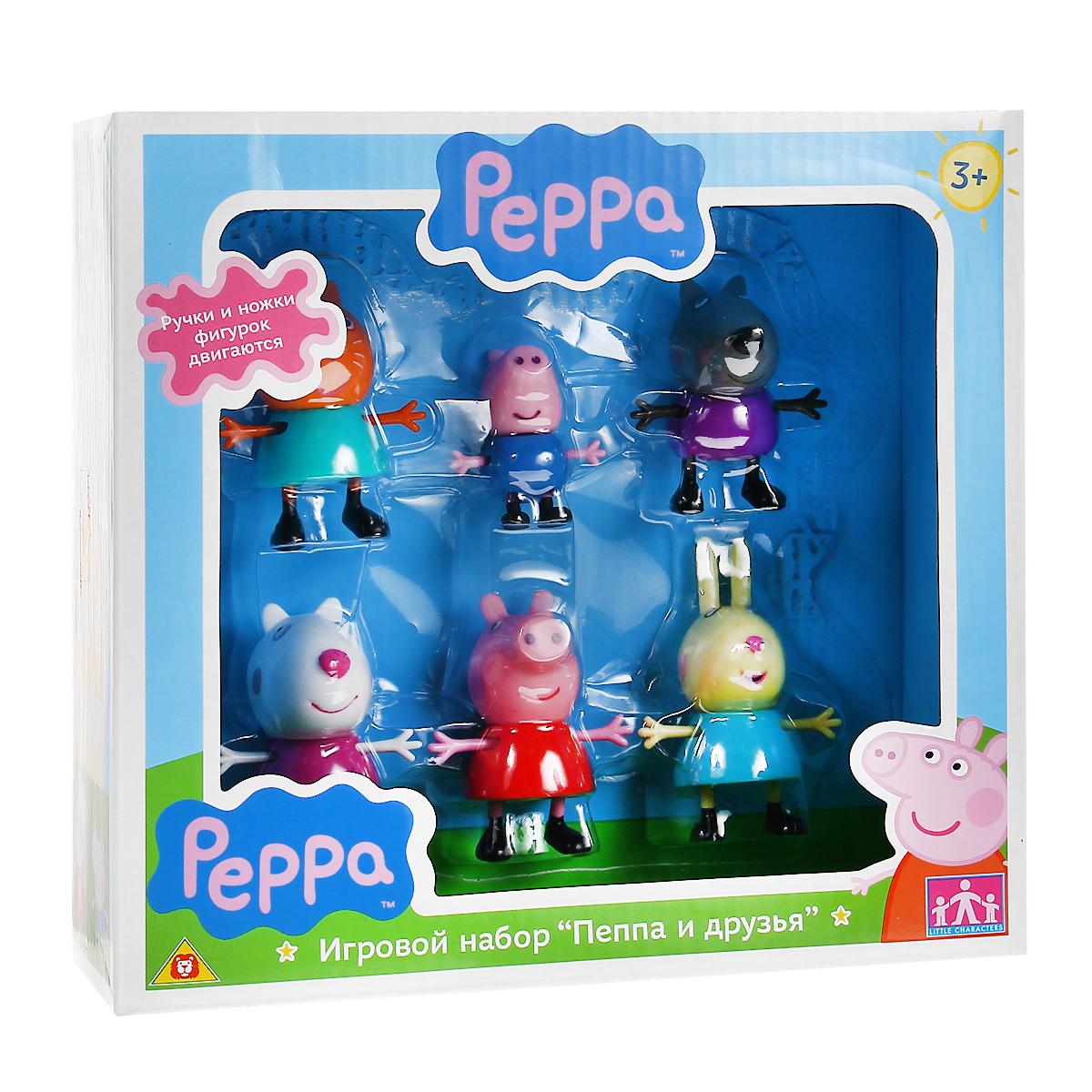 Набор фигурок Пеппа и друзья, 6 шт24312Набор фигурок Пеппа и друзья приведет в восторг вашего малыша. Дети обожают мультфильм Свинка Пеппа и, проводя время со своими друзьями, с удовольствием участвуют в ее приключениях. Набор включает в себя фигурки в виде Пеппы, Джорджа, котенка Кэнди, овечки Сьюзи, кролика Ребекка и щенка Дэни. Фигурки выполнены из пластика; они могут сидеть, стоять, двигать ручками и ножками. Благодаря небольшому размеру игрушки легко поместятся в карман одежды ребенка, поэтому малыш сможет не расставаться со своими новыми друзьями. Порадуйте своего ребенка таким замечательным подарком!
