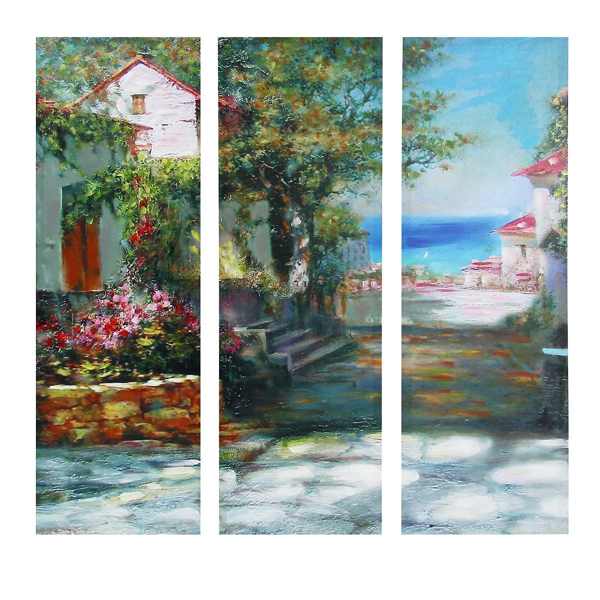 Картина-репродукция без рамки Домик в цветах, 78 см х 80 см х 2,5 см. 3602736027Картина-репродукция без рамки Домик в цветах выполнена из натуральной древесины. Техника выполнения - масляная печать на холсте с ручной подрисовкой. Картина состоит из трех частей с изображением домика. Такая картина - вдохновляющее декоративное решение, привносящее в интерьер нотки творчества и изысканности! Благодаря оригинальному дизайну картина дополнит интерьер любого помещения, а также сможет стать изысканным подарком для ваших друзей и близких.