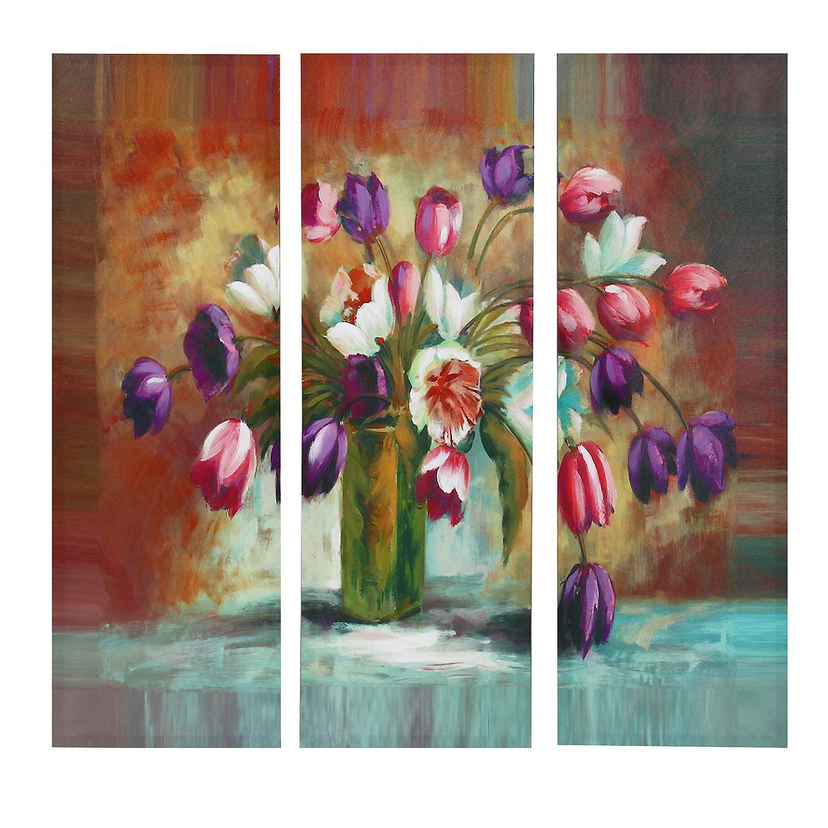 Картина-репродукция без рамки Тюльпаны, 78 х 80 х 2,5 см 3603236032Картина-репродукция без рамки Тюльпаны выполнена из натуральной древесины. Техника выполнения - масляная печать на холсте с ручной подрисовкой. Картина состоит из трех частей с красочным изображением разноцветных тюльпанов. Такая картина - вдохновляющее декоративное решение, привносящее в интерьер нотки творчества и изысканности! Благодаря оригинальному дизайну картина дополнит интерьер любого помещения, а также сможет стать изысканным подарком для ваших друзей и близких.