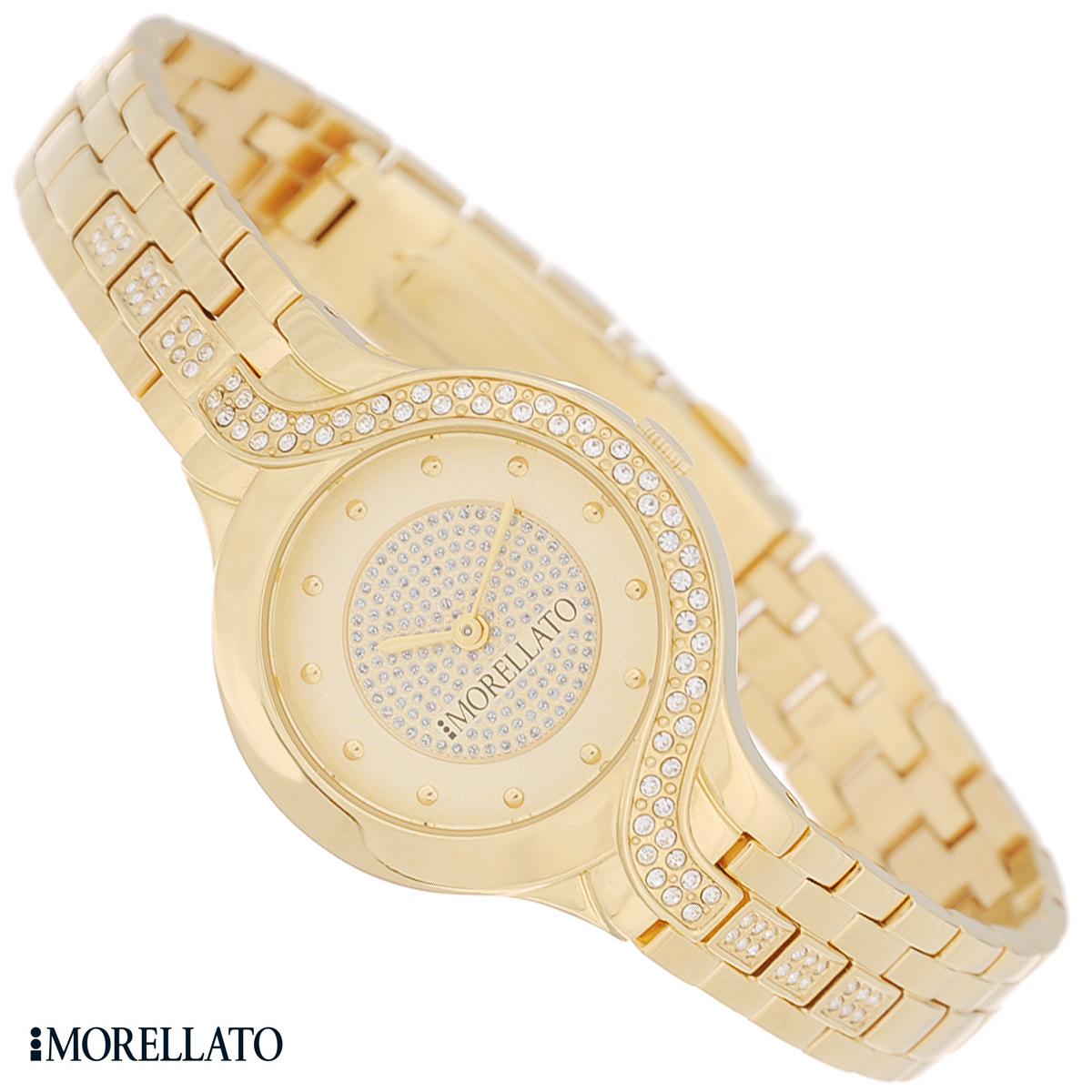 Часы женские наручные Morellato, цвет: золотой. R0153117504R0153117504Наручные женские часы Morellato оснащены кварцевым механизмом. Корпус выполнен из высококачественной нержавеющей стали с PVD-покрытием и декорирован кристаллами. Циферблат с отметками защищен минеральным стеклом и оформлен кристаллами. Часы имеют две стрелки - часовую и минутную. Браслет часов выполнен из нержавеющей стали с PVD-покрытием и оснащен раскладывающейся застежкой-клипсой. Часы укомплектованы паспортом с подробной инструкцией. Часы Morellato отличаются уникальным, но в то же время простым и лаконичным стилем. Характеристики: Диаметр циферблата: 2,3 см. Размер корпуса: 3 см х 3,6 см х 0,7 см. Длина браслета (с корпусом): 26 см. Ширина браслета: 1,3 см.