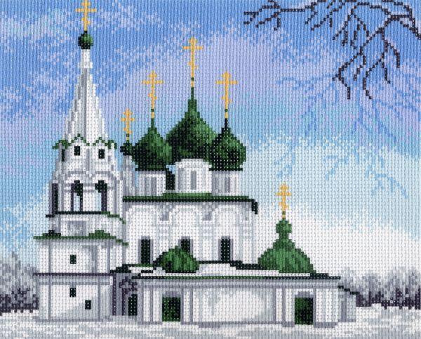 """Матренин Посад Канва с рисунком для вышивания """"Церковь"""", 25 см х 20,4 см. 691"""