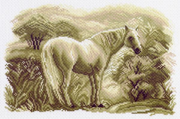 """Матренин Посад Канва с рисунком для вышивания """"Лошадь"""", 30 х 20 см 1541"""