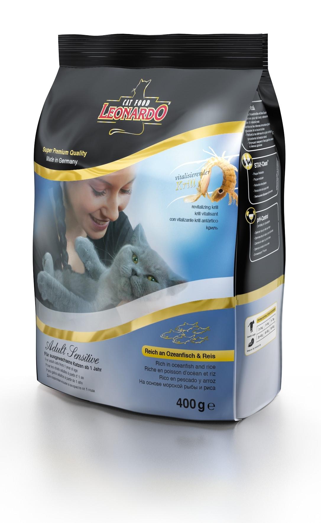 Корм сухой Leonardo Adult Sensetive для взрослых кошек от 1 года, на основе морской рыбы и риса, 400 г26084Сухой корм Leonardo Adult Sensetive предназначен для взрослых кошек с чувствительным пищеварением. С добавлением вкусного криля (креветок). За счет высокого содержания Омега-3 и Омега-6 жирных кислот улучшает качество кожи и шерсти. Снижает образование зубного камня и зубного налета. Корм обладает профилактикой мочекаменной болезни и подходит для кастрированных/стерилизованных котов и кошек. Состав: мука сельди 17%, сухое мясо птицы пониженной зольности 15%, рис 15%, кукуруза, жир домашней птицы, морепродукты (криль 4%), рожь, яичный порошок, пивные дрожжи 2,5%, гидролизат печени птицы, вытяжка из виноградной косточки, цареградский сухой стручок 1,25%, льняное семя, поваренная соль, инулин. Добавки: витамин А 15000 МЕ, витамин D3 1500 МЕ, витамин Е 150 мг, витамин C (как аскорбил монофосфаты) 245 мг, таурин 1400 мг, медь (как медь-(ll)-сульфат, пентагидрат) 15 мг, железо (в форме железа ll сульфат) 200 мг, железо (в форме оксид железа lll) 385 мг, ...