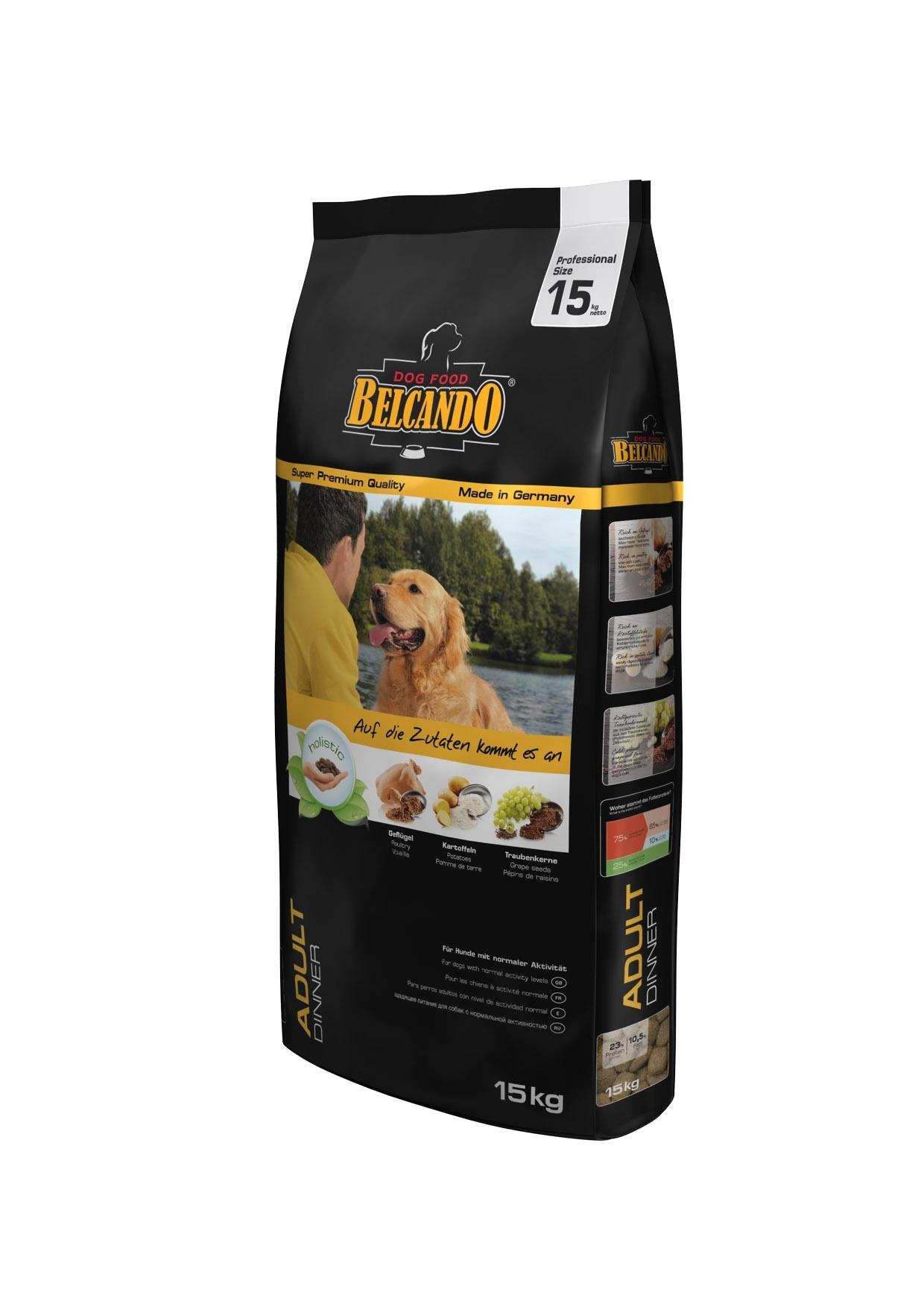 Корм сухой Belcando Adult Diner, для собак с низким и средним уровнем активности, на основе индейки, 15 кг33013Полноценное ежедневное питание для собак со средним уровнем активности. Корм Belcando Adult Diner идеально подойдет для собак средних и крупных пород, которые ведут активный образ жизни, но при этом не испытывают сильных ежедневных физических нагрузок и не нуждаются в повышенном потреблении калорий. Корм помогает сохранять хорошую физическую форму вашего питомца, поставляя в его организм все необходимые питательные вещества, но не позволяя ему полнеть. Состав: сухое мясо птицы пониженной зольности (23,5%); кукуруза; рис; картофельный крахмал (14%); мука сельди (3%); сухой жом; цареградский стручок крупного помола; вытяжка из виноградной косточки (2,5%); пивные дрожжи; жир домашней птицы; рафинированное растительное масло; семена чии; гидролизат печени птицы; дикальций фосфат; поваренная соль; калий хлористый; травы (всего 0,2%: листья крапивы, корень горечавки, золототысячник, ромашка, фенхель, тмин, омела, тысячелистник, листья ежевики); экстракт юкки. ...