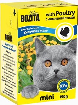 Консервы для кошек Bozita mini, мясные кусочки в желе, с домашней птицей, 190 г2100Консервы Bozita mini - это полнорационное влажное питание супер премиум класса для кошек. Содержит 93% свежего шведского мяса, которое никогда не было заморожено. Состав: 93% свежего мяса: курица, индейка (4% в каждом кусочке), свинина, карбонат кальция, дрожжи MacroGard. Добавки на кг: витамин А 2000 МЕ, витамин D3 200 МЕ, витамин Е 12 мг, таурин 700 мг, медь 2 мг (сульфат меди-(II), пентагидрат), марганец 1,8 мг (оксид марганца -II и -III), цинк 14 мг (сульфат цинка, моногидрат), йод 0,1 мг (йодат кальция, моногидрат). Анализ: белок 8,5%, жир 4,5%, клетчатка 0,5%, зола 2,3% (кальций 0,35%, фосфор 0,3%, магний 0,02%), влага 83%. Энергетическая ценность: 280 кДж/100г. Вес: 190 г. Товар сертифицирован.