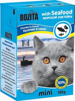 Консервы для кошек Bozita mini, мясные кусочки в желе в соусе, с морским коктейлем, 190 г2103Консервы Bozita mini - это полнорационное влажное питание супер премиум класса для кошек. Содержит 93% свежего шведского мяса, которое никогда не было заморожено. Состав: 93% свежего мяса: курица, свинина, рыба белых пород (4% в каждом кусочке), моллюски (2% в каждом кусочке), креветки (2% в каждом кусочке), говядина, карбонат кальция, дрожжи MacroGard. Добавки на кг: витамин А 2000 МЕ, витамин D3 200 МЕ, витамин Е 12 мг, таурин 700 мг, медь 2 мг (сульфат меди-(II), пентагидрат), марганец 1,8 мг (оксид марганца -II и -III), цинк 14 мг (сульфат цинка, моногидрат), йод 0,1 мг (йодат кальция, моногидрат). Анализ: белок 8,5%, жир 4,5%, клетчатка 0,5%, зола 2,3% (кальций 0,35%, фосфор 0,3%, магний 0,02%), влага 83%. Питание не содержит ГМО. Энергетическая ценность: 280 кДж/100г. Вес: 190 г. Товар сертифицирован.