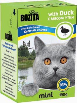 Консервы для кошек Bozita mini, мясные кусочки в соусе, с мясом утки, 190 г2105Консервы Bozita mini - это полнорационное влажное питание супер премиум класса для кошек. Содержит 93% свежего шведского мяса, которое никогда не было заморожено. Состав: 93% свежего мяса: курица, свинина, мясо утки (4% в каждом кусочке), говядина, карбонат кальция, дрожжи MacroGard. Добавки на кг: витамин А 2000 МЕ, витамин D3 200 МЕ, витамин Е 12 мг, таурин 700 мг, медь 2 мг (сульфат меди-(II), пентагидрат), марганец 1,8 мг (оксид марганца -II и -III), цинк 14 мг (сульфат цинка, моногидрат), йод 0,1 мг (йодат кальция, моногидрат). Анализ: белок 8,5%, жир 4,5%, клетчатка 0,5%, зола 2,3% (кальций 0,35%, фосфор 0,3%, магний 0,02%), влага 83%. Питание не содержит ГМО. Энергетическая ценность: 280 кДж/100г. Вес: 190 г. Товар сертифицирован.