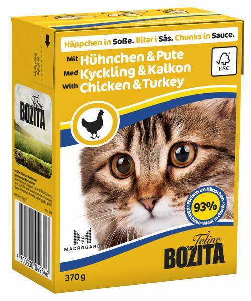 Консервы для кошек Bozita Feline, с курицей и индейкой в соусе, 370 г4934Консервы Bozita Feline - это полнорационное влажное питание премиум класса для кошек. Содержит 93% свежего шведского мяса, которое никогда не было заморожено. Состав: курица (85% в порции), индейка (7,2% в порции), говядина, свинина, карбонат кальция, дрожжи MacroGard. Добавки на кг: витамин А 2000МЕ, витамин D3 200МЕ, витамин Е 12 мг, таурин 700 мг, медь 2 мг (сульфат меди-(II), пентагидрат), марганец 1,8 мг (оксид марганца -II и -III), цинк 14 мг (сульфат цинка, моногидрат), йод 0,1 мг (йодат кальция, моногидрат). Содержит все витамины и минералы, в которых нуждается ваш питомец. Анализ состава: белок 8,5%, жир 4,5%, клетчатка 0,5%, минеральные вещества (сырая зола 2,3%, кальций 0,35%, фосфор 0,3%, магний 0,02%), влага 83%. Продукт не содержит ГМО. Энергетическая ценность: 290 кДж/100г. Вес: 370 г. Товар сертифицирован.