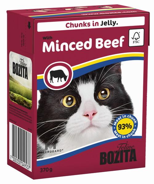 Консервы для кошек Bozita Feline, с рубленой говядиной в желе, 370 г4953Консервы Bozita Feline - это полнорационное влажное питание премиум класса для кошек. Содержит 93% свежего шведского мяса, которое никогда не было заморожено. Состав: курица, говядина (6% в порции), свинина, карбонат кальция, дрожжи (бета-1,3 / 1,6-глюкан 0,01%). Добавки на кг: витамин А 2000МЕ, витамин D3 200МЕ, витамин Е 12 мг, таурин 700 мг, медь 2 мг (сульфат меди-(II), пентагидрат), марганец 1,8 мг (оксид марганца -II и -III), цинк 14 мг (сульфат цинка, моногидрат), йод 0,1 мг (йодат кальция, моногидрат). Содержит все витамины и минералы, в которых нуждается ваш питомец. Анализ состава: белок 8,5%, жир 4,5%, клетчатка 0,5%, минеральные вещества (сырая зола 2,3%, кальций 0,35%, фосфор 0,3%, магний 0,02%), влага 83%. Продукт не содержит ГМО. Энергетическая ценность: 290 кДж/100г. Вес: 370 г. Товар сертифицирован.