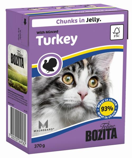 Консервы для кошек Bozita Feline, с рубленой индейкой в желе, 370 г4958Консервы Bozita Feline - это полнорационное влажное питание премиум класса для кошек. Содержит 93% свежего шведского мяса, которое никогда не было заморожено. Состав: курица, индейка (7,2% в порции), говядина, свинина, карбонат кальция, дрожжи MacroGard. Добавки на кг: витамин А 2000МЕ, витамин D3 200МЕ, витамин Е 12 мг, таурин 700 мг, медь 2 мг (сульфат меди-(II), пентагидрат), марганец 1,8 мг (оксид марганца -II и -III), цинк 14 мг (сульфат цинка, моногидрат), йод 0,1 мг (йодат кальция, моногидрат). Содержит все витамины и минералы, в которых нуждается ваш питомец. Специальные добавки на кг: кассия десен 1180 мг. Анализ состава: белок 8,5%, жир 4,5%, клетчатка 0,5%, минеральные вещества (сырая зола 2,3%, кальций 0,35%, фосфор 0,3%, магний 0,02%), влага 83%. Продукт не содержит ГМО. Энергетическая ценность: 290 кДж/100г. Вес: 370 г. Товар сертифицирован.