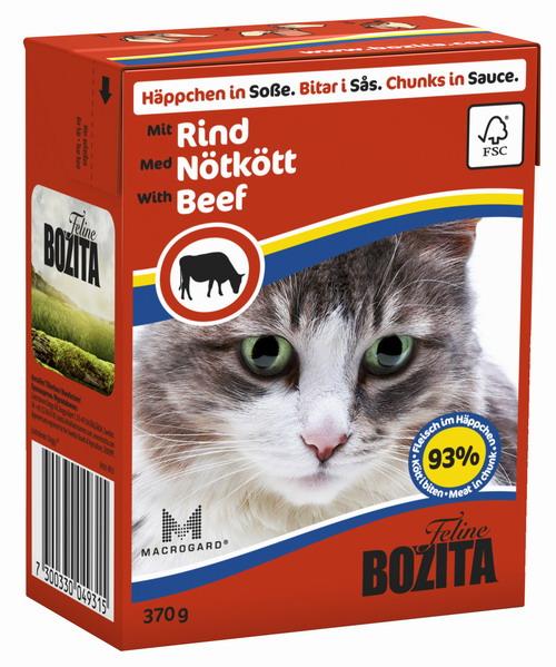Консервы для кошек Bozita Feline, с говядиной в соусе, 370 г4931Консервы Bozita Feline - это полнорационное влажное питание премиум класса для кошек. Содержит 93% свежего шведского мяса, которое никогда не было заморожено. Состав: курица, говядина (6% в порции), свинина, карбонат кальция, укроп, дрожжи MacroGard. Добавки на кг: витамин А 2000МЕ, витамин D3 200МЕ, витамин Е 12 мг, таурин 700 мг, медь 2 мг (сульфат меди-(II), пентагидрат), марганец 1,8 мг (оксид марганца -II и -III), цинк 14 мг (сульфат цинка, моногидрат), йод 0,1 мг (йодат кальция, моногидрат). Содержит все витамины и минералы, в которых нуждается ваш питомец. Анализ состава: белок 8,5%, жир 4,5%, клетчатка 0,5%, минеральные вещества (сырая зола 2,3%, кальций 0,35%, фосфор 0,3%, магний 0,02%), влага 83%. Продукт не содержит ГМО. Энергетическая ценность: 290 кДж/100г. Вес: 370 г. Товар сертифицирован.