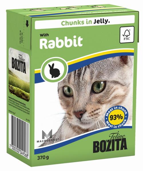 Консервы для кошек Bozita Feline, с кроликом в желе, 370 г4956Консервы Bozita Feline - это полнорационное влажное питание премиум класса для кошек. Содержит 93% свежего шведского мяса, которое никогда не было заморожено. Состав: курица, кролик (7,2% в порции), говядина, свинина, карбонат кальция, дрожжи. Добавки на кг: вит. А 2000МЕ, вит. D3 200МЕ, вит. Е 12 мг, таурин 700 мг, медь 2 мг (сульфат меди-(II), пентагидрат), марганец 1,8 мг (оксид марганца -II и -III), цинк 14 мг (сульфат цинка, моногидрат), йод 0,1 мг (йодат кальция, моногидрат). Содержит все витамины и минералы, в которых нуждается ваш питомец. Анализ: белок 8,5%, жир 4,5%, клетчатка 0,5%, минеральные вещества (сырая зола) 2,3% (кальций 0,35%, фосфор 0,3%, магний 0,02%), влага 83%. Продукт не содержит ГМО. Энергетическая ценность: 290 кДж/100г. Вес: 370 г. Товар сертифицирован.