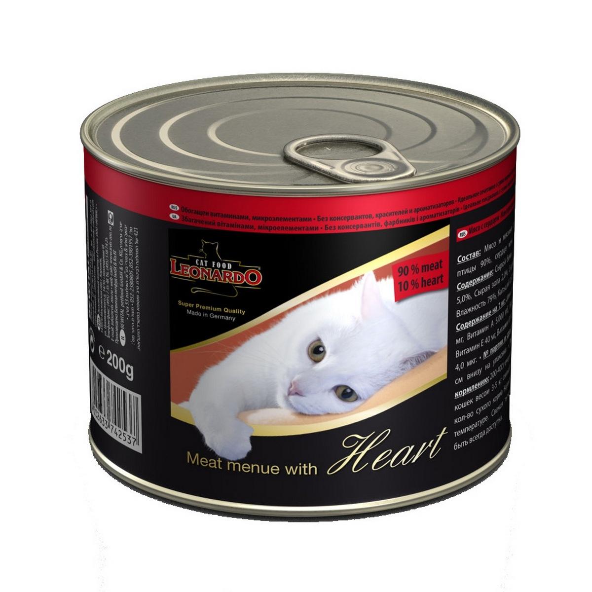 Консервы для кошек Leonardo, мясо с сердцем, 200 г52738Консервы Leonardo - 100% мясные консервы для кошек, выполненные в виде нежного фарша. Консервы состоят исключительно из отборных натуральных компонентов и не содержат сою, искусственные красители и усилители вкуса. Состав: 90% мясо птицы, 10% сердце, минералы. Анализ состава: протеин 12%, жир 5%, клетчатка 0,4%, зола 2%, влажность 79%, кальций 0,32%, фосфор 0,18%. Содержание на 1 кг: цинк 15 мг, марганец 1,5 мг, витамин А 5000 МЕ, витамин Е 40 мг, витамин D3 250 МЕ, витамин В2 0,8 мг, витамин В12 4,0 мг. Вес: 200 г. Товар сертифицирован.