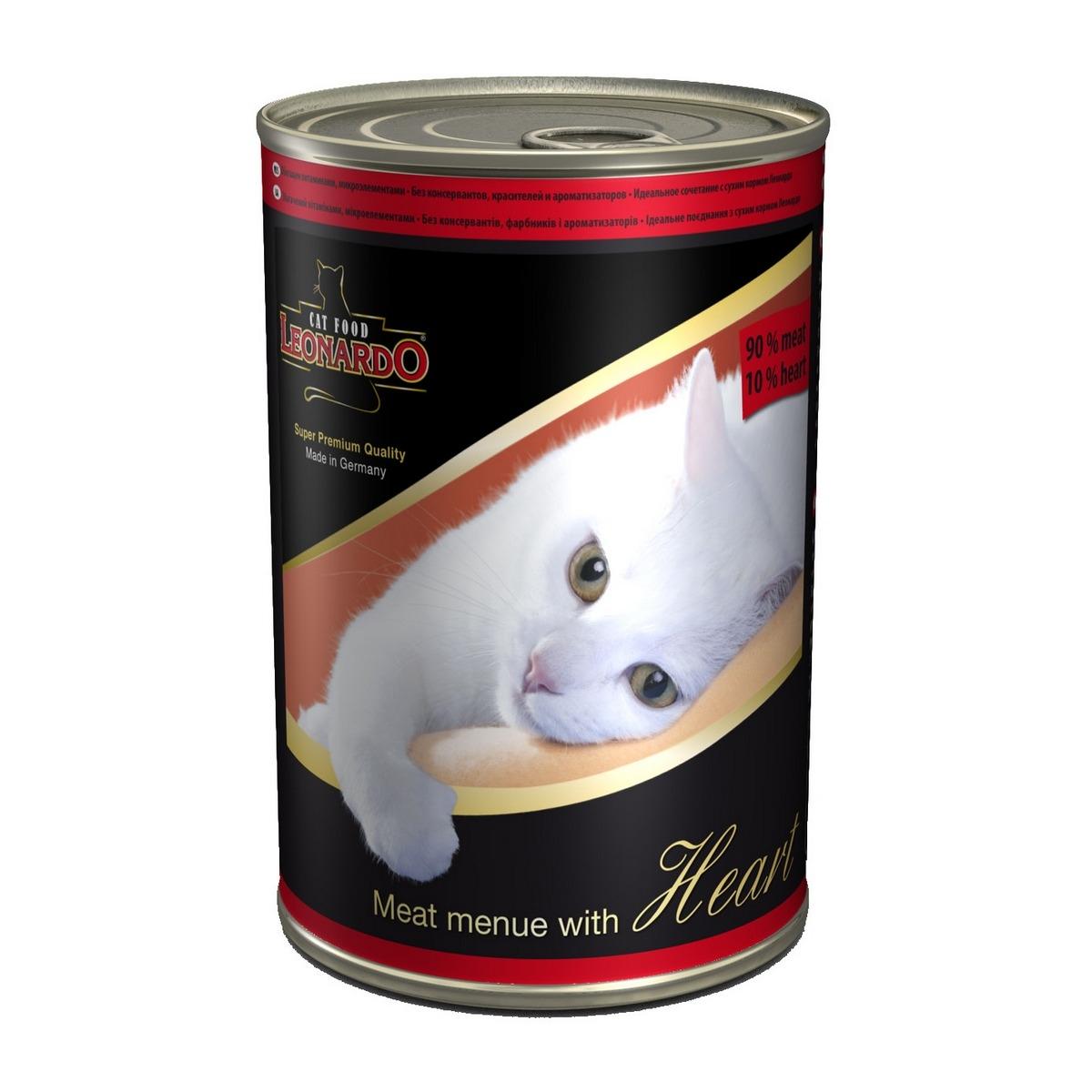 Консервы для кошек Leonardo, мясо с сердцем, 400 г52739Консервы Leonardo - 100% мясные консервы для кошек, выполненные в виде нежного фарша. Консервы состоят исключительно из отборных натуральных компонентов и не содержат сою, искусственные красители и усилители вкуса. Состав: 90% мясо птицы, 10% сердце, минералы. Анализ состава: протеин 12%, жир 5%, клетчатка 0,4%, зола 2%, влажность 79%, кальций 0,32%, фосфор 0,18%. Содержание на 1 кг: цинк 15 мг, марганец 1,5 мг, витамин А 5000 МЕ, витамин Е 40 мг, витамин D3 250 МЕ, витамин В2 0,8 мг, витамин В12 4,0 мг. Вес: 400 г. Товар сертифицирован.
