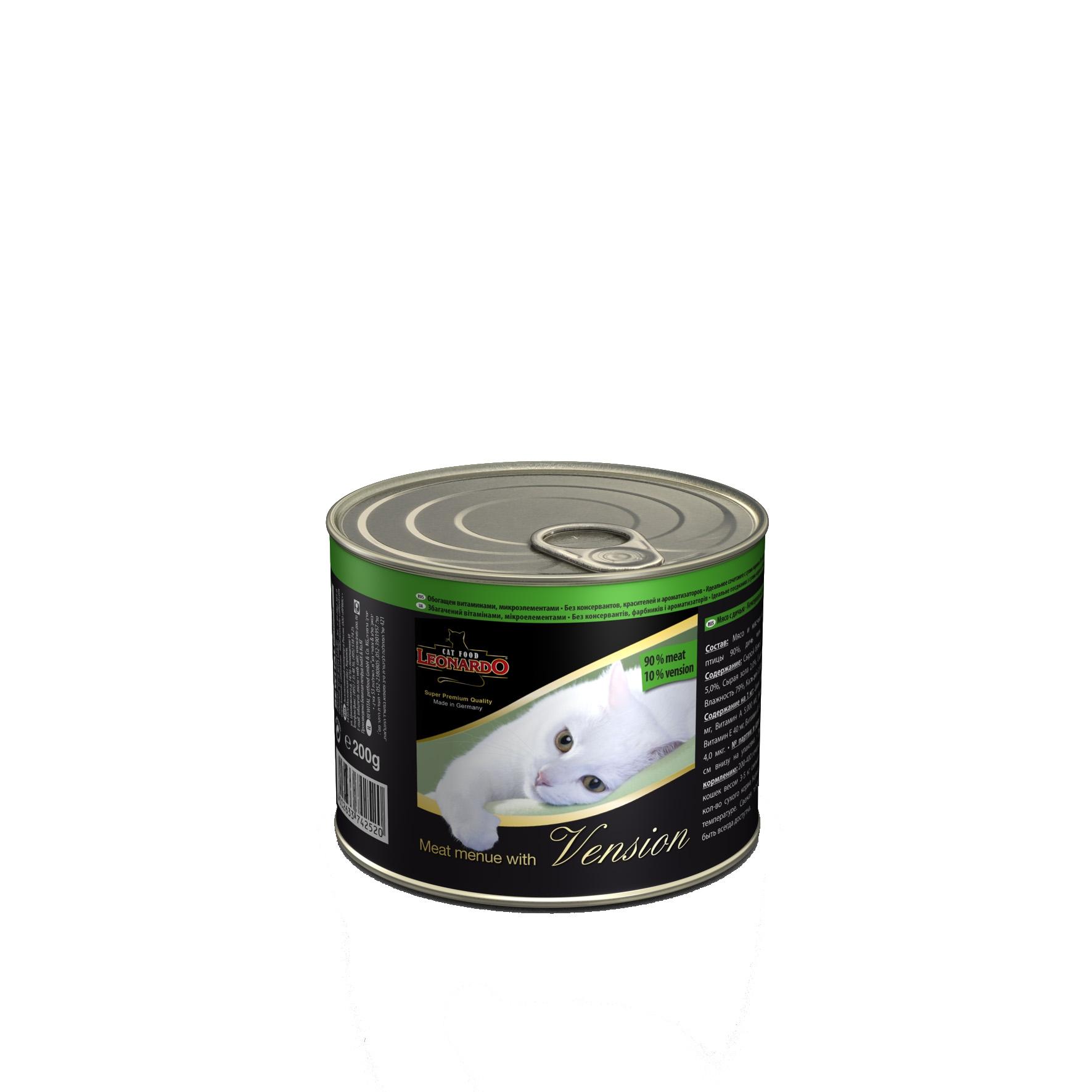 """Консервы для кошек """"Leonardo"""", мясо с дичью, 200 г 53616"""