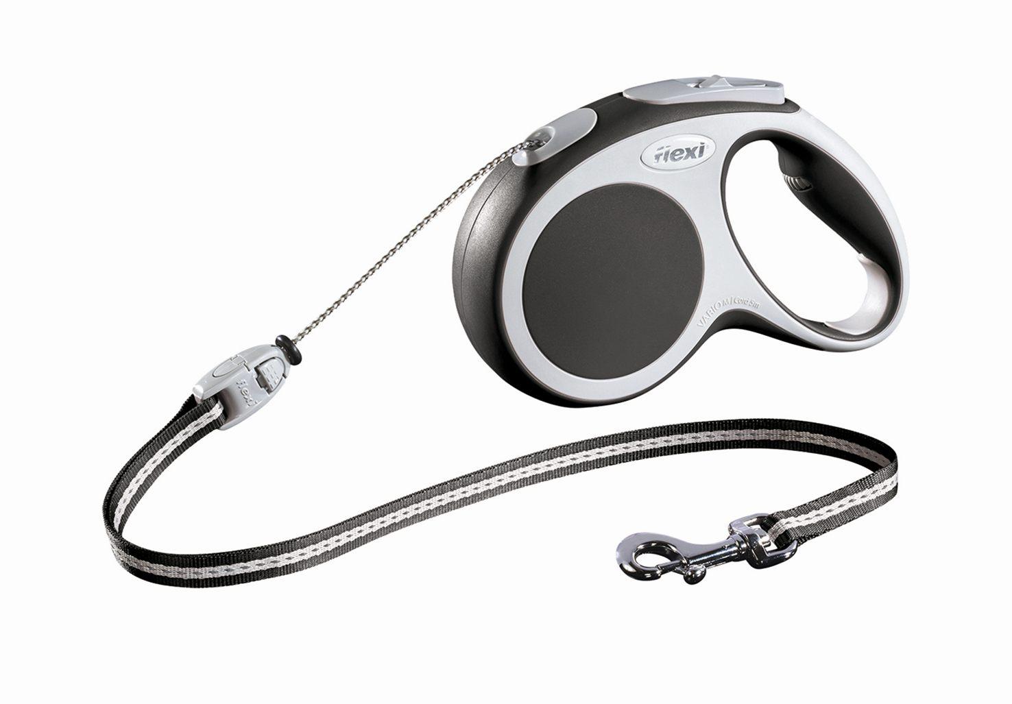 Поводок-рулетка Flexi Vario Basic М для собак до 20 кг, цвет: серый, 5 м019207Поводок-рулетка Flexi Vario Basic М изготовлен из пластика и нейлона. Тросовый поводок обеспечивает каждой собаке свободу движения, что идет на пользу здоровью и радует вашего четвероногого друга. Рулетка очень проста в использовании, оснащена кнопками кратковременной и постоянной фиксации. Ее можно оснастить - мультибоксом для лакомств или пакетиков для сбора фекалий, LED подсветкой корпуса, своркой или ремнем с LED подсветкой. Поводок имеет прочный корпус, хромированную застежку и светоотражающие элементы. Длина поводка: 5 м. Максимальная нагрузка: 20 кг. Товар сертифицирован.