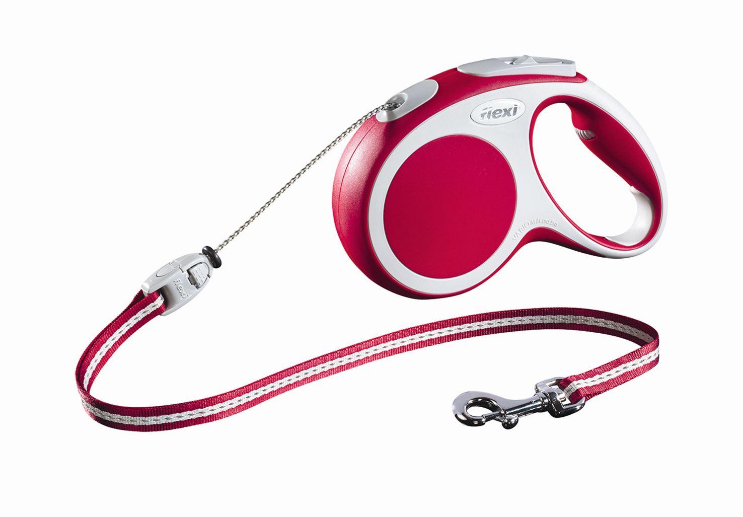 Поводок-рулетка Flexi Vario Basic М для собак до 20 кг, цвет: красный, 5 м019214Поводок-рулетка Flexi Vario Basic М изготовлен из пластика и нейлона. Тросовый поводок обеспечивает каждой собаке свободу движения, что идет на пользу здоровью и радует вашего четвероногого друга. Рулетка очень проста в использовании, оснащена кнопками кратковременной и постоянной фиксации. Ее можно оснастить - мультибоксом для лакомств или пакетиков для сбора фекалий, LED подсветкой корпуса, своркой или ремнем с LED подсветкой. Поводок имеет прочный корпус, хромированную застежку и светоотражающие элементы. Длина поводка: 5 м. Максимальная нагрузка: 20 кг. Товар сертифицирован.