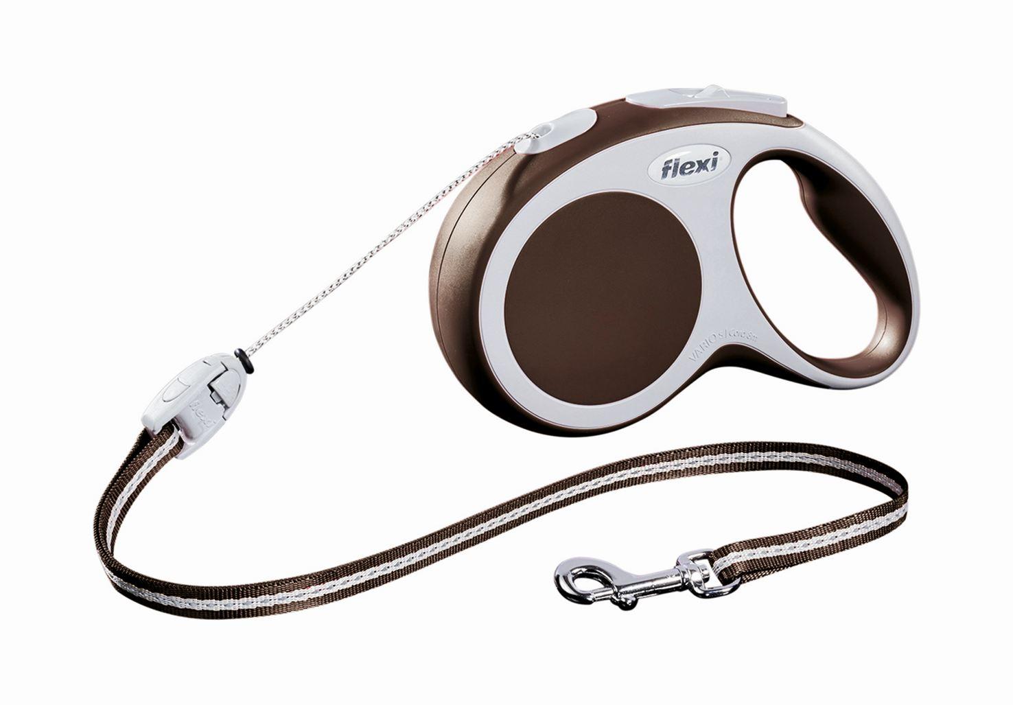 Поводок-рулетка Flexi Vario Long S для собак до 12 кг, цвет: коричневый, 8 м019337Поводок-рулетка Flexi Vario Long S изготовлен из пластика и нейлона. Тросовый поводок обеспечивает каждой собаке свободу движения, что идет на пользу здоровью и радует вашего четвероногого друга. Рулетка очень проста в использовании, оснащена кнопками кратковременной и постоянной фиксации. Ее можно оснастить - мультибоксом для лакомств или пакетиков для сбора фекалий, LED подсветкой корпуса, своркой или ремнем с LED подсветкой. Поводок имеет прочный корпус, хромированную застежку и светоотражающие элементы. Длина поводка: 8 м. Максимальная нагрузка: 12 кг. Товар сертифицирован.