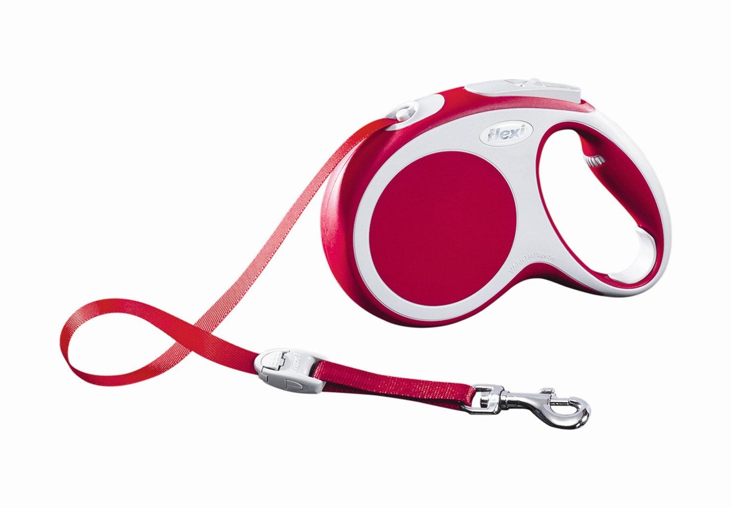 Поводок-рулетка Flexi Vario Compact М для собак до 25 кг, цвет: красный, 5 м020012Поводок-рулетка Flexi Vario Compact М изготовлен из пластика и нейлона. Ленточный поводок обеспечивает каждой собаке свободу движения, что идет на пользу здоровью и радует вашего четвероногого друга. Рулетка очень проста в использовании, оснащена кнопками кратковременной и постоянной фиксации. Ее можно оснастить - мультибоксом для лакомств или пакетиков для сбора фекалий, LED подсветкой корпуса, своркой или ремнем с LED подсветкой. Поводок имеет прочный корпус, хромированную застежку и светоотражающие элементы. Длина поводка: 5 м. Максимальная нагрузка: 25 кг. Товар сертифицирован.